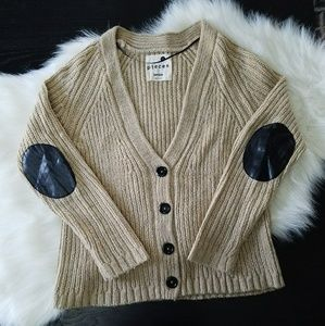 Kensie Knit Button Up Cardigan Sweater, Elbow Pads